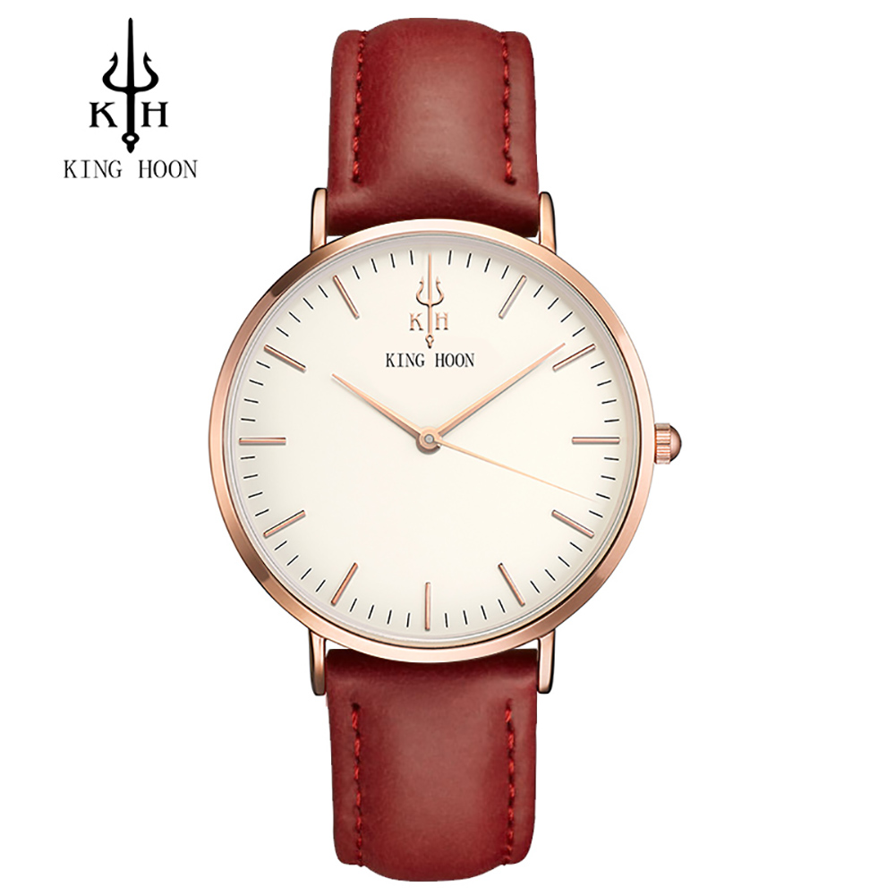 2017 Luxury Brand KING HOON Sport Watches Women Leather Ultra Slim Gold Quartz-watch Male Female Clock Relogio Feminino Montre G 2017 luxury brand gimto sport watches women leather ultra slim gold quartz watch male female clock relogio feminino montre gift
