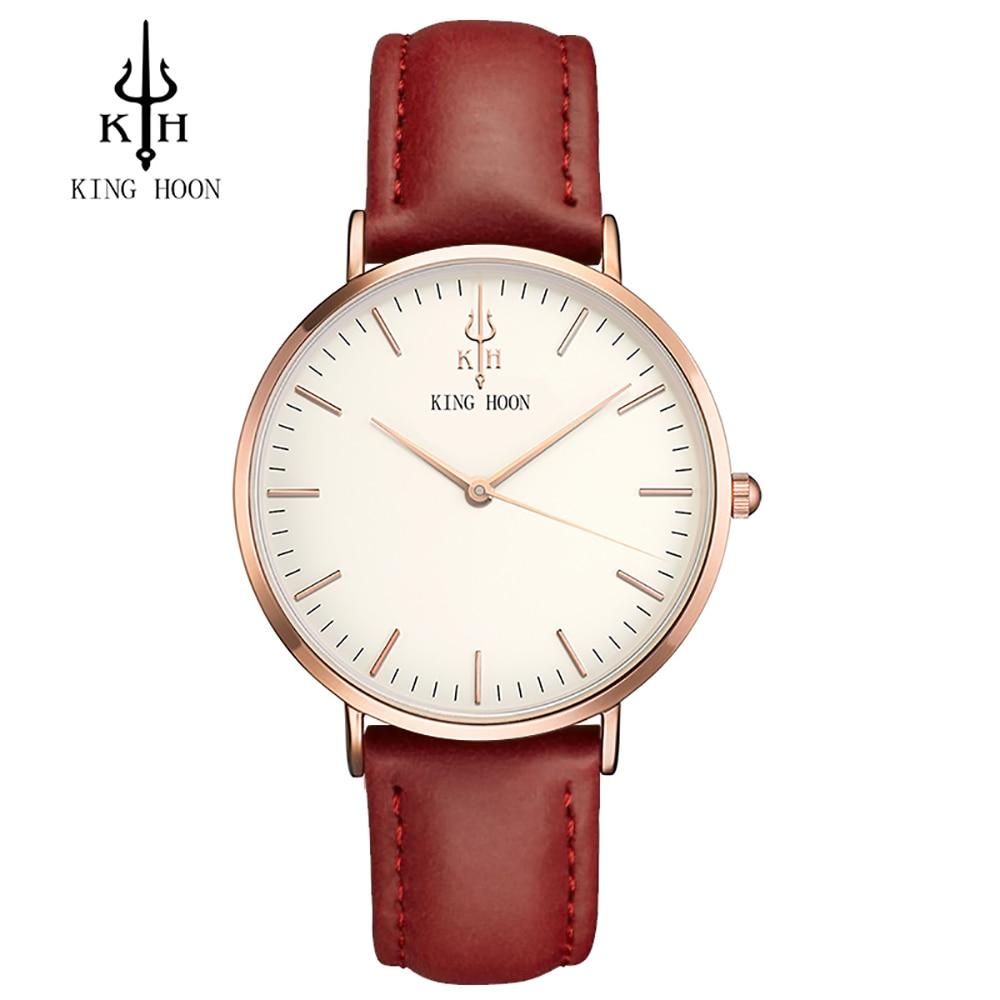 2017 Luxury Brand KING HOON Sport Watches Women Leather Ultra Slim Gold Quartz-watch Male Female Clock Relogio Feminino Montre G king relogio h0158