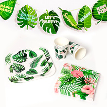 Hawaii Flamingo Party Theme Supplies Disposable Plate Paper Napkin Banner Summer Decorations