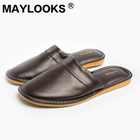 Men's   Slippers   Spring And Autumn Pu Leather Home Indoor Non - Slip Thermal   Slippers   2018 New Hot Maylooks M-8833