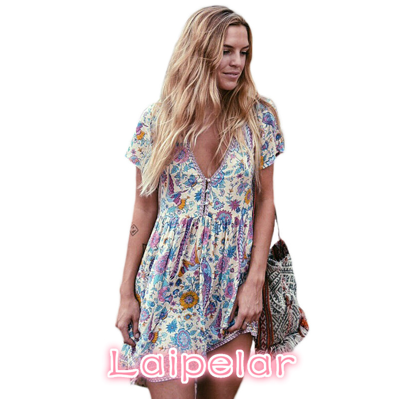 Laipelar Boho Hippie Dress Retro Bohemian Ethnic Style Deep V-neck Floral Print Beach Dress Mini Sundress vestido