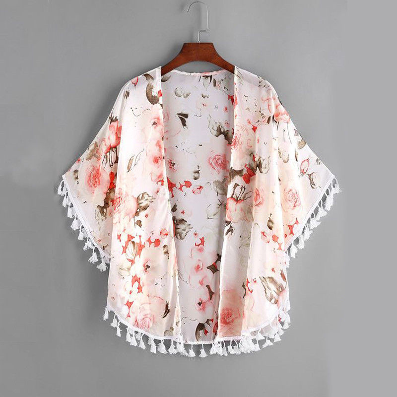 Lovely Girls Summer Floral Printed Cover Ups Long Sleeve Tassel Cardigan New Chic Beach Wear Bikini Cover Up For Girls