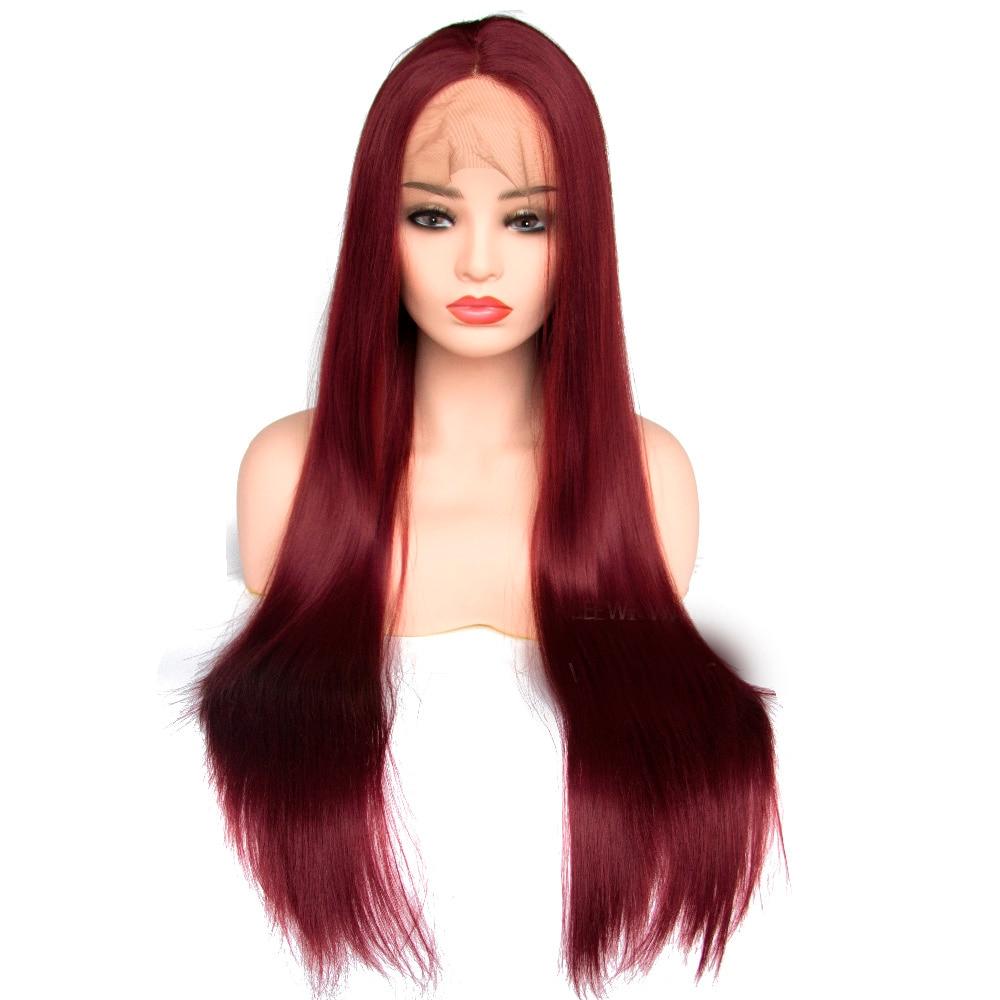 V'NICE синтетические волосы на кружеве парик прямой термостойкие бордовые волосы натуральный парик цвет красного вина парик женс...