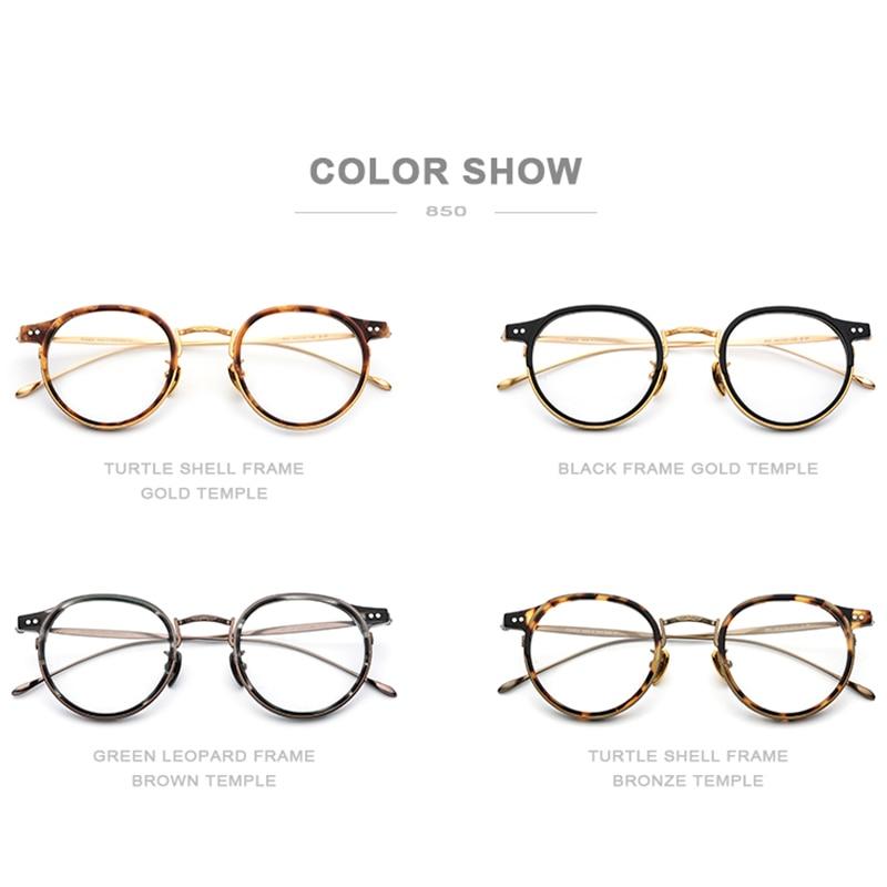 FONEX B titane lunettes optiques cadre hommes Vintage rond Prescription lunettes femmes rétro myopie acétate lunettes lunettes - 5