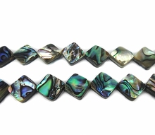 """6 – 18 mm 1 Strand aprox. 15.5 """" Peacock Abalone Shell Loose Beads Coin Shell Beads Square forma madre de Pearl Bead DIY joyería"""