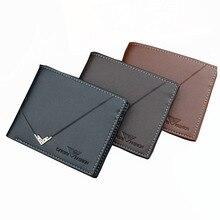 цены на  Men Wallet Business Short Wallet Three Folding Black Wallet Ultrathin Purse Men Wallet High Quality PU Credit Card Holders  в интернет-магазинах