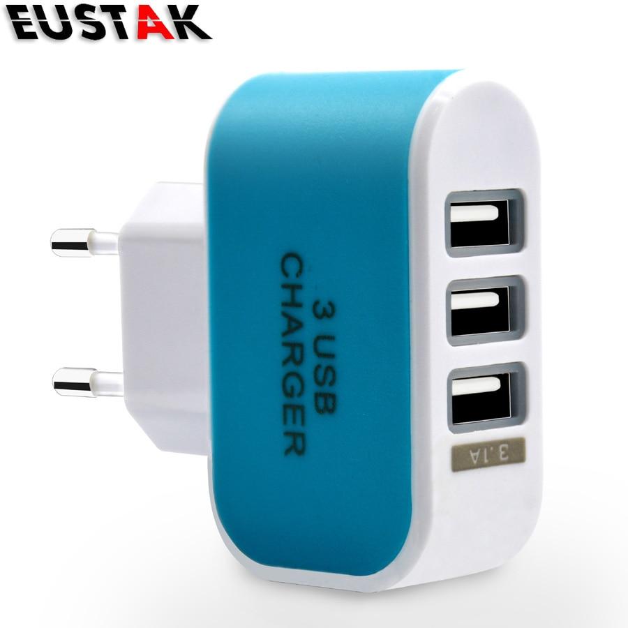 EUSTAK 5V 1A EU Plug 3 Ports Multiple Wall USB Smart Chargers