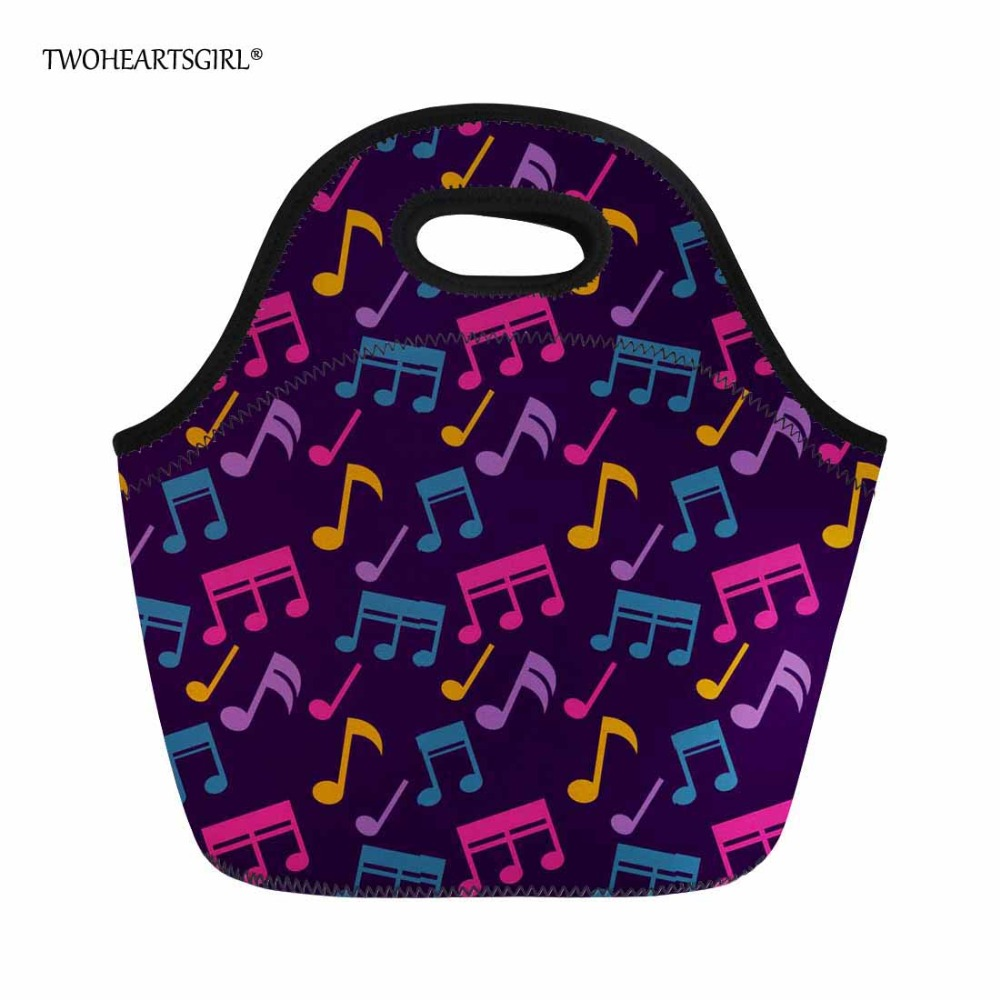 Twoheartsgirl Colorful Music Notes Lunch Tote Neoprene Food Bag for Women Children Kids Keep Warm Girls Cooler Lunchbox