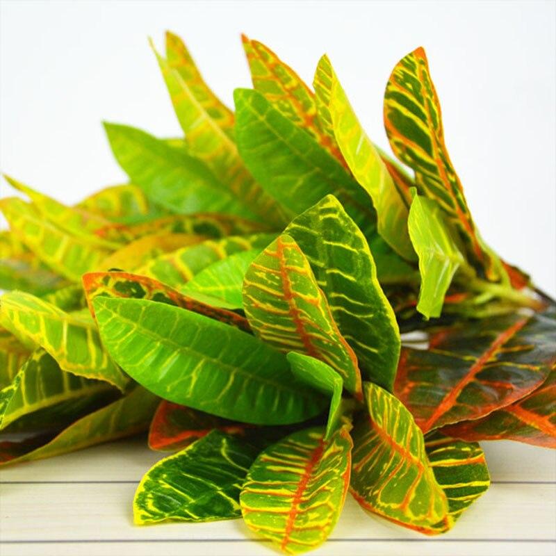 6 Pcs Lot Artificial Colorful Leaf Plants Fake Tree Leaves