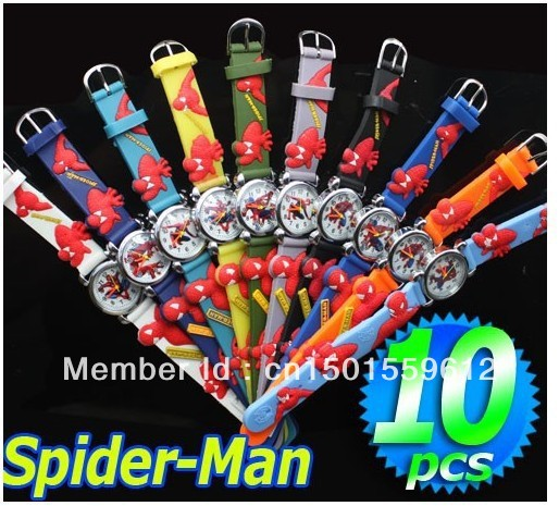 3D Cartoon lovely Spiderman Watch to Children Free Shipping 140pcs lot Girls and Boys Students Quartz
