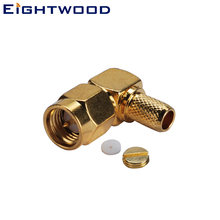 Eightwood SMA RF Connector Male Plug Right Angle for LMR-195 Cable CB Baofeng BF-888s UV-5r UHF Ham Radio Aerial Antenna Adapter(China)