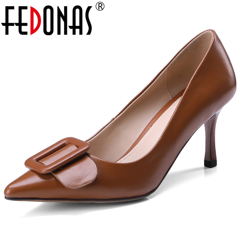 FEDONAS New Arrival Women High Heels Sexy Pointed Toe Basic Pumps Buckles Genuine Leather Spring Summer