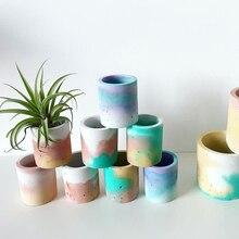 Succulent Plants Pot Concrete Mold 4 Holes Handmade Crafts Pen Holder Clay Silic