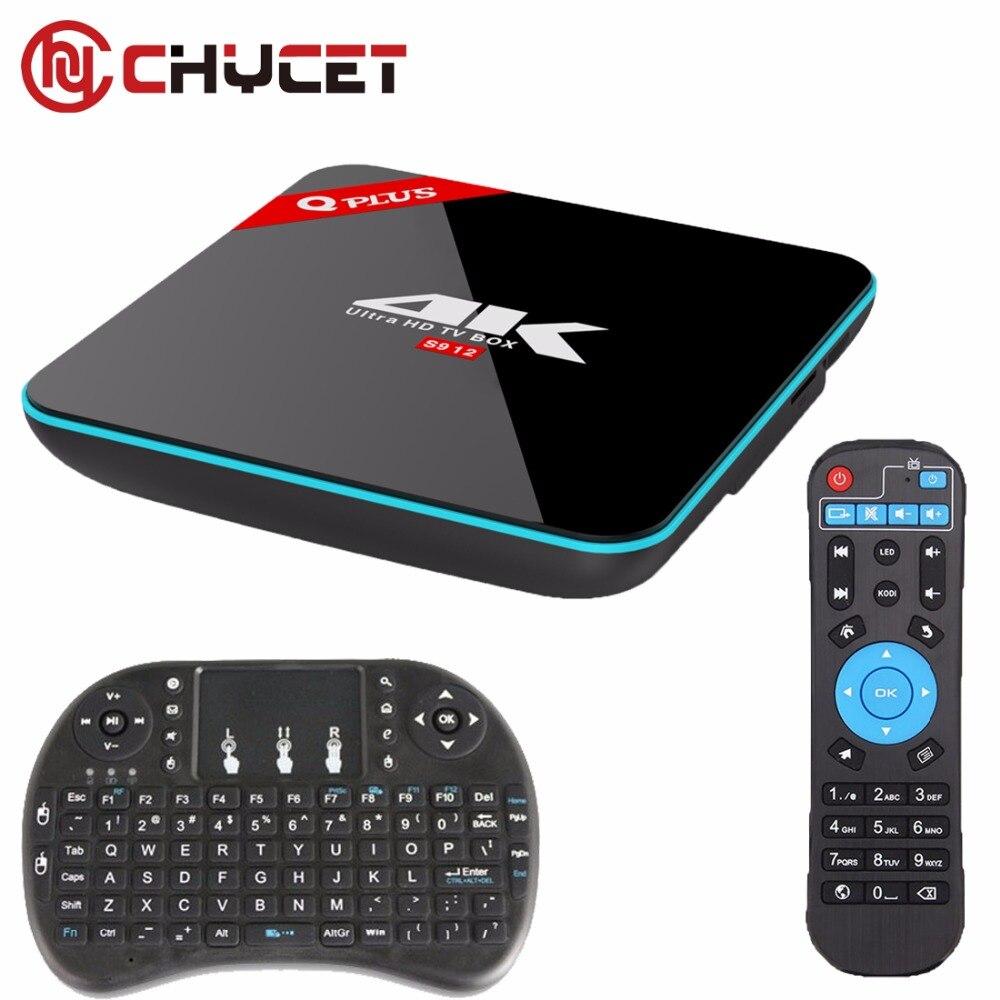 ФОТО Chycet Q Plus 2G/16G Amlogic S912 Octa Core Andorid 6.0 TV BOX 2.4G/5GHz BT4.0 4K H.265 Set Top Box Media Player + keyboard