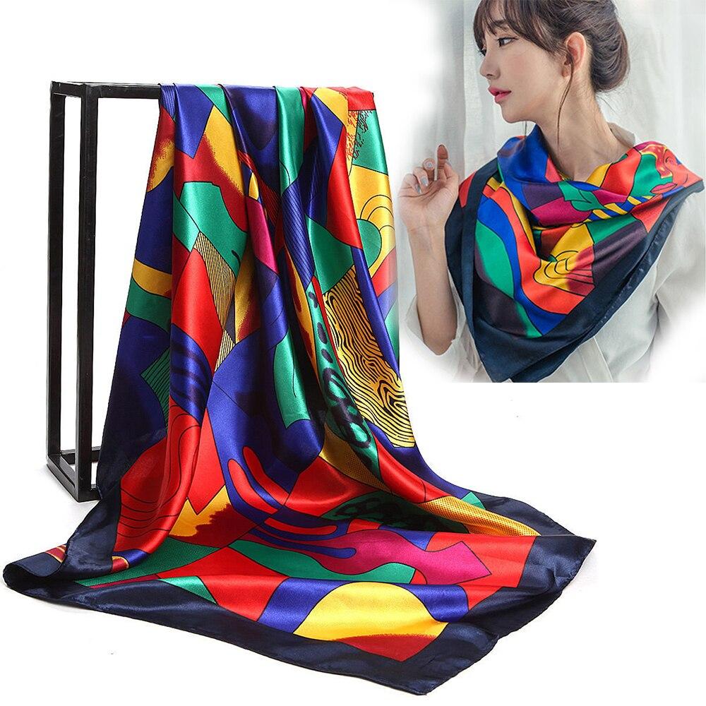 KLV Women Elegant 90*90cm Large Soft Faux Silk Scarf Fashion Red Picasso Paint Scarf Square Scarves Shawls Kerchief Neckerchief