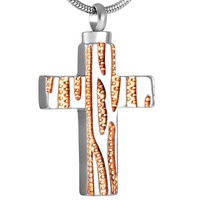 IJD8434 Black/Golden Cross Cremation Necklace For Ashes Jewelry Keepsake stainless Steel Memorial Urn Pendant For Women&Men