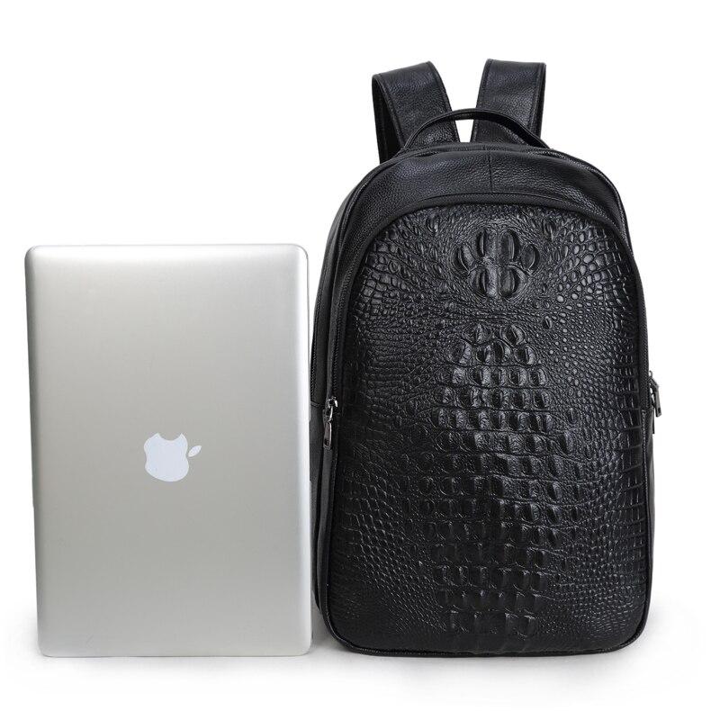 Chic männer Kuh Leder Rucksack Präge Krokodil Muster Luxus Exquisite Laptop Schule Tasche Aus Echtem Leder Männlichen Bagpack-in Rucksäcke aus Gepäck & Taschen bei  Gruppe 2