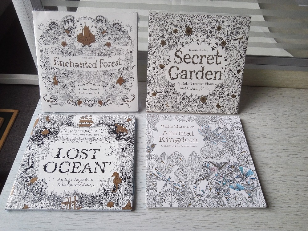 4PCS LOT 96 Pages English Edition Secret Garden Lost Ocean Enchanted Forest Animal Kingdom Coloring Book Painting In Books From Office School