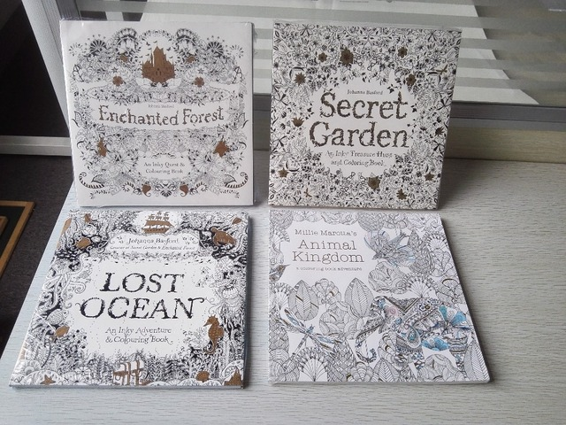 4PCS LOT 96 Pages English Edition Secret Garden Lost Ocean Enchanted Forest