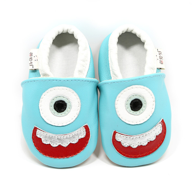 Wholesale Newborn Baby Genuine Leather Blue Color with Lovely Cartoon Animal Design Low Slip on Fashion Soft Soled First Walker