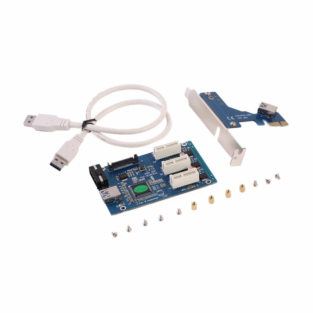 Prix pour Nouveau PCI-e 1X Express à 3 Port 1X Commutateur Multiplicateur HUB riser Card + USB Câble Multiplicateur HUB D'extension Riser Carte D'extension