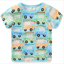 2017 jumping baby tees & tops summer o-neck children clothes knitted cotton baby girls clothes t shirts printed children boys