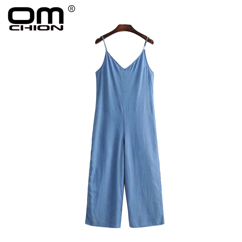 OMCHION Denim Spodnie Damskie Women Sexy Summer Jumpsuit V Neck Solid Blue Patchwork Spaghetti Strap Playsuit Loose Casual LA428 ...
