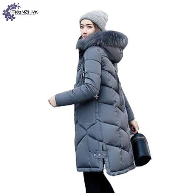 TNLNZHYN Women clothing Cotton coat winter New Fashion Large Size Long sleeve Thicken warm hooded fur collar female coat QQ107 sonex pagri 4262