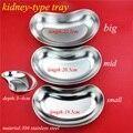 Médico de acero inoxidable 304 de tipo riñón bandeja de esterilización plato de uso quirúrgico/curvo de plástico plato de L/M/S tamaño de un conjunto