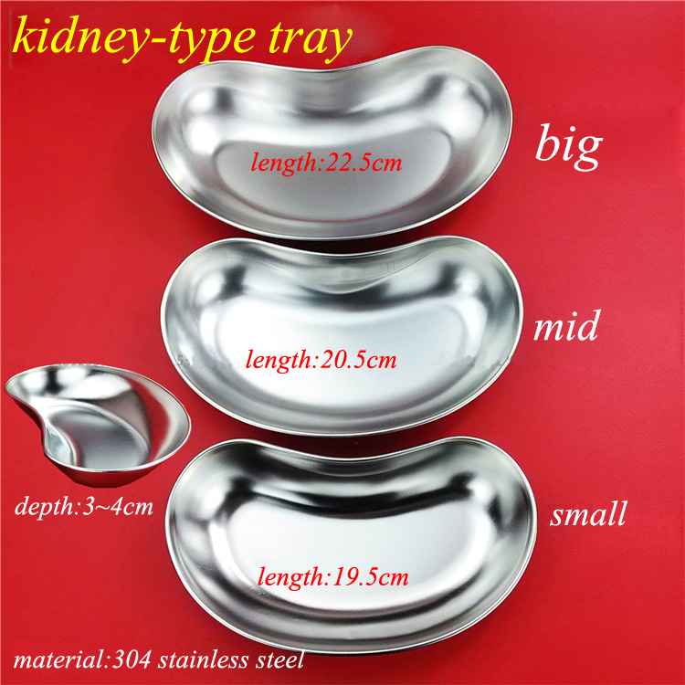 Medical 304 stainless steel kidney type tray sterilizing use dish surgical/plastic curved dish L/M/S size a set medical micro plastic use stainless steel