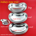 Medical 304 stainless steel kidney type tray sterilizing use dish surgical/plastic curved dish L/M/S size a set