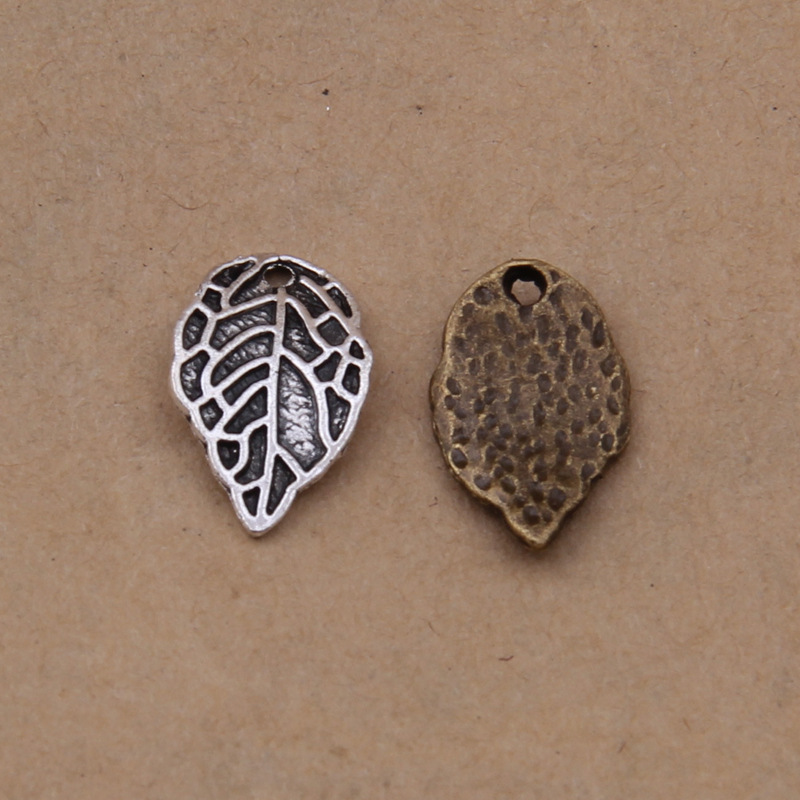 50pcs Antique silver bronze leaf Charms pendant Jewelry Making DIY european jewelry accessories 16x10mm