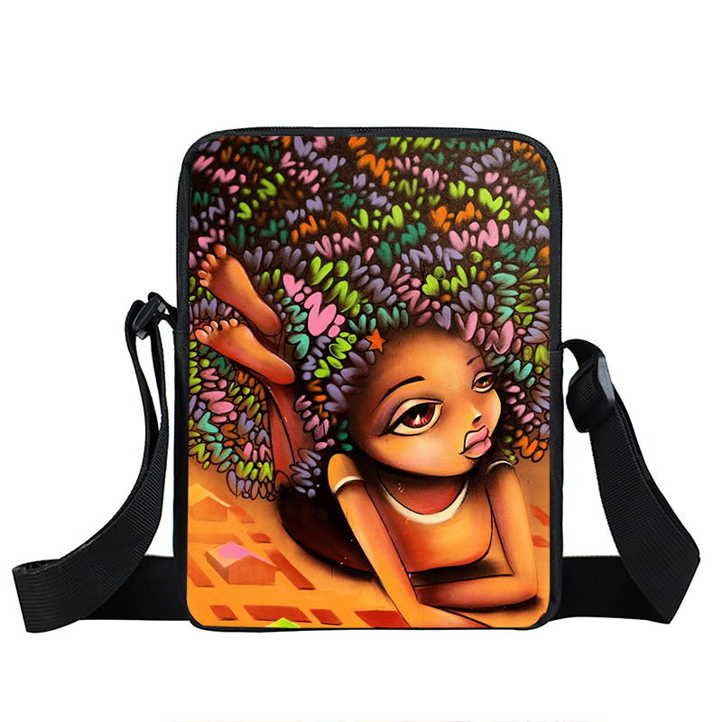 Afro Lady Girl messenger bag Africa Beauty Princess small shoulder bag brown women handbag mini totes teenager crossbody bags 18