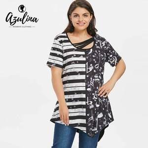 5fae0fa7504 AZULINA Plus Size Print T-Shirt Summer Women T Shirt Tops