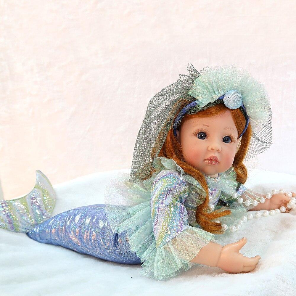 58 cm Silicone souple Reborn bébé poupées Unique petite sirène poupée vivante Bebe yeux bleus princesse Boneca vraie fille poupée lol jouet cadeau