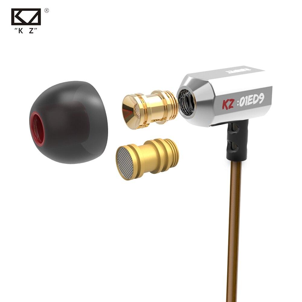 Original KZ ED9 Super Bass en la oreja música con DJ auriculares HIFI estéreo de auriculares con aislamiento de ruido de deporte auriculares con micrófono