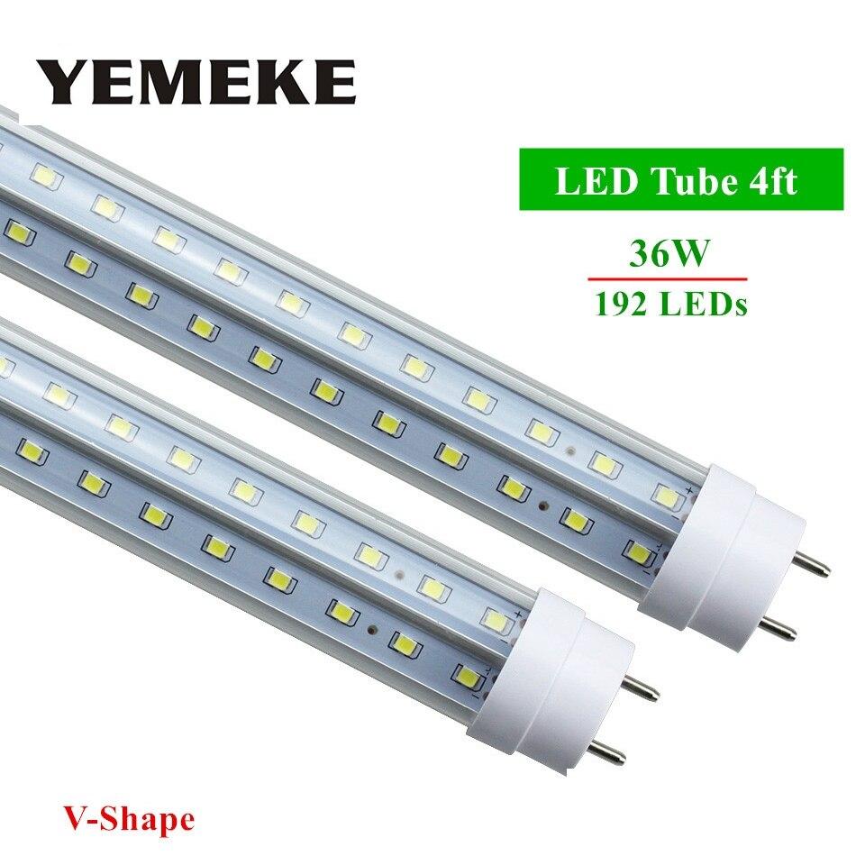 Светодиодные лампы трубки G13 4ft 36 Вт светодиодные трубки T8 192 светодиоды SMD2835 супер яркий 3600lm V-Форма LED лампы дневного света AC85-265V ce fcc