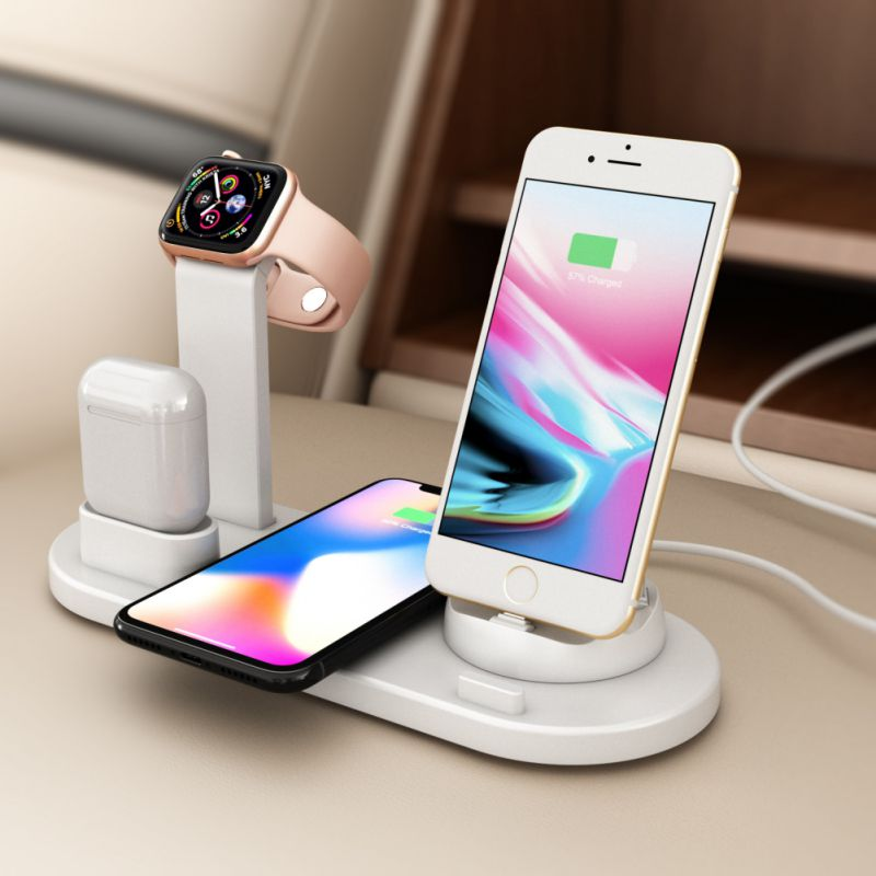 3-in-1 Wireless Charger 360 Angle Rotating Desktop iPhone Micro Usb Type-C Triple Charger for Xiaomi 9 Iphone X 8