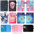 For Apple iPad mini 1 2 3 4 Case Mandala Butterfly Skull Flower Pattern Tablet Back Cover with Stylus holder For iPad mini 7.9''