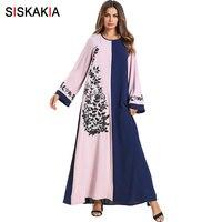 Siskakia Eid Adha Ramadan Long Dress Spring Summer 2019 Vintage Floral Embroidery Maxi Dresses Fashion Color Block Muslim Abaya