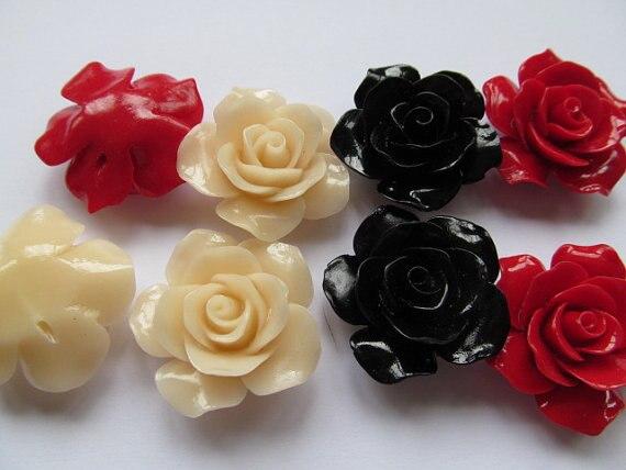 Fashoin résine plastique 25mm 100 pièces-haute qualité rose florial pétale noir jet blanc chaud rouge pêche assortiment couleur bijoux --- ont