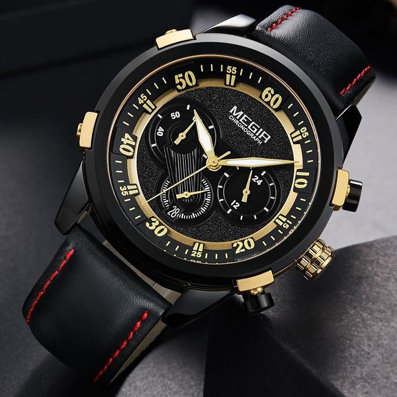 MEGIR Men's Fashion Luxury Brand Military Quartz Wristwatches Chronograph Waterproof Sports Watches Men Clock Relogio Masculino