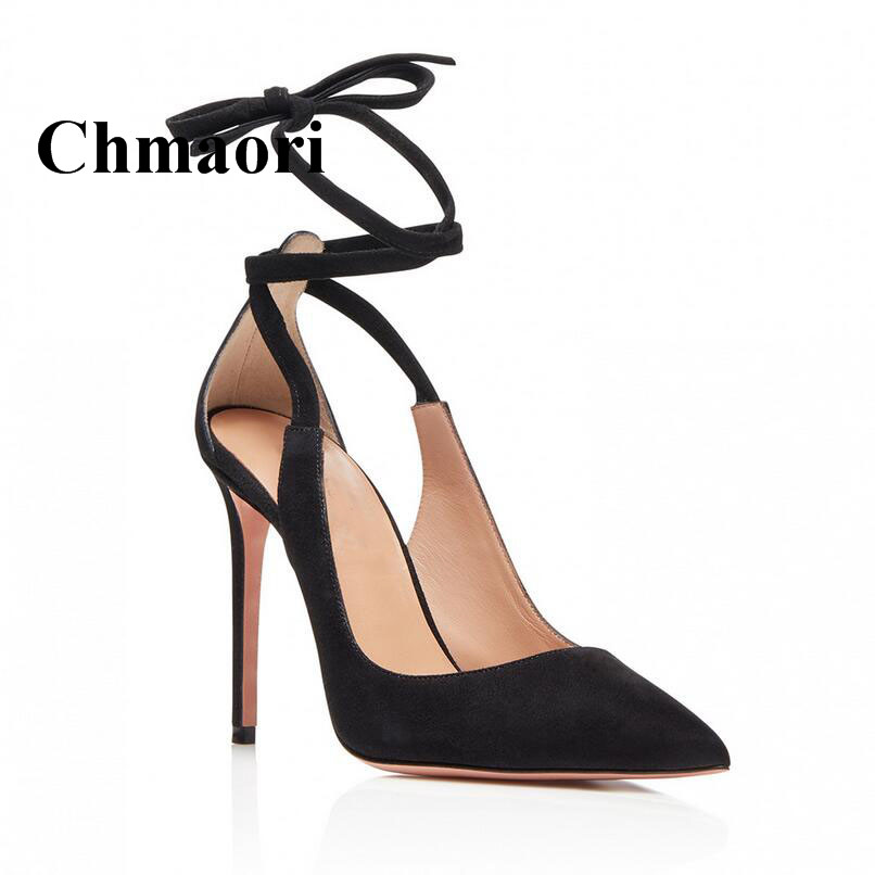 Classic Fashion Flock Cross-tied Sexy Pointed Toe Thin High Heel Cover Heel Lady Shoes Wild Two Color Women Pumps Noamal Size