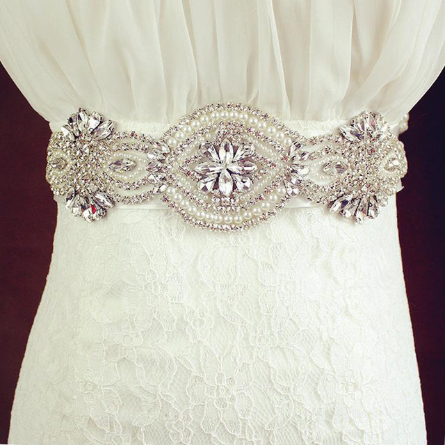 ZXW57 New arrival Handmade Wedding Belt Crystal Rhinestone Beads Bridal Jewelry Formal Wedding Evening Dress Sashes Accessories