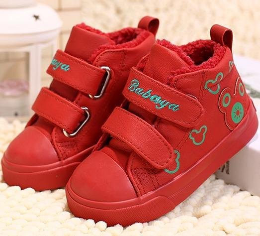 2016 brand design Winter soft warm waterproof PU leather high top flat baby girls boy infant first walker ankle snow boots shoes