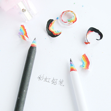 2pcs/pack Creative Rainbow Wooden Black & White Standard Pencil Writing Drawing Pencils School Office Supply Student Stationery