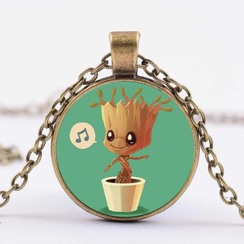 SONGDA Newest Guardians of the Galaxy Movies Jewelry Groot Baby Anime Photo Crystal Glass Cabochon Necklace Women Men Souvenirs