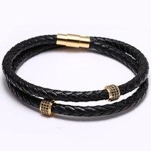Round Zircon Mens Bracelets Stainless Steel Black Leather Bracelet Wristband Bangle Punk Style Fashion Jewlery Magnetic Clasp