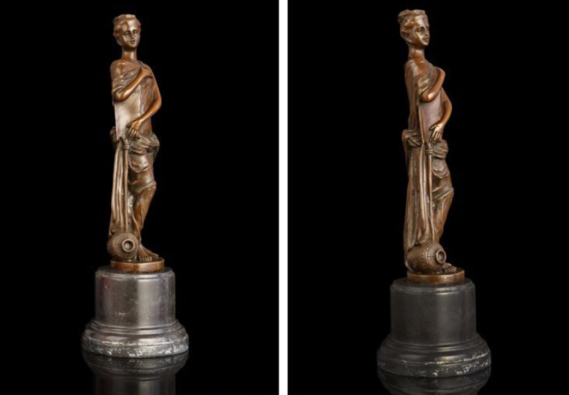 Art Deco Sculpture Western Woman Girl With Water Bottle Bronze Statue decoration bronze factory outlets