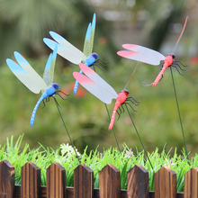 Garden Ornament Dragonfly Art Creative Lawn Decoration Color Random 3D Double Beautiful Decor 10only
